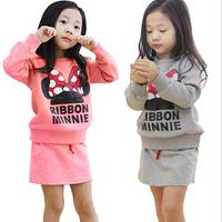 2015 baby clothes set winter Girls clothing Minnie bow skirt suit children suit children suit wholesale children's skirt suits