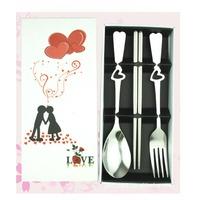 2015 New Heart Shaped Stainless Steel Fork Spoon Chopsticks Set Flatware V3NF