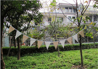 Free Shipping! NEW 2.8M Burlap hessian jute and white lace bunting banner garland pennant flags