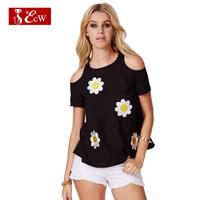 ECW NEW  Women T shirt Fashion Loose Off Shoulder Europeans Style Sexy Chiffon Blusas Femininas Casual Women Top