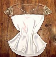 Honey Moda Golden pearl mesh stitching chiffon blouse