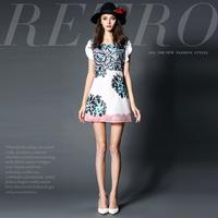 14122526 spring and summer fashion high quality handmade embroidery print slim silk one-piece dress