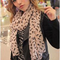 Women Warm Soft Chiffon Cat Printed Wrap Shawl Scarves Stole Neck Scarf Pashmina  Free Shipping