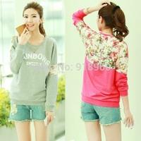 fashion spring women sweatshirts,pacthwork lace back long sleeve loose womens sweatshirts 2014 sweatsuit