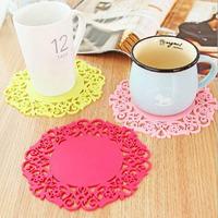 2 Pieces/Lot Size M Circular Silica Gel Cup Mat Fashion Pattern  Heat Insulation Pads Antifouling Eat Mat Hot Dish Bowl MATS