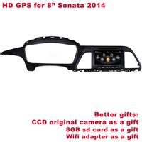 "Free Shipping Better HD 8"" Sonata 2014-2015 Car DVD GPS Navigation DVD Player Radio TV DVR WIFI 3G Better Service+Better Gifts"