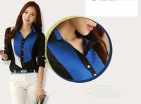 OL Contrast Color Chiffon Blouses LadiesElegant Chiffon Shirt blouses