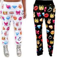 New Fashion Emoji Joggers Men Women 3D Diamond Heart Pill Face Jogger Pants Sweatpants sportswear cartoon outfit