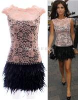 Sexy White Black Lace Short Feather Cocktail Dress 2015 Above Knee High Neck Vestido De Festa Elegant Women Party Prom Gown