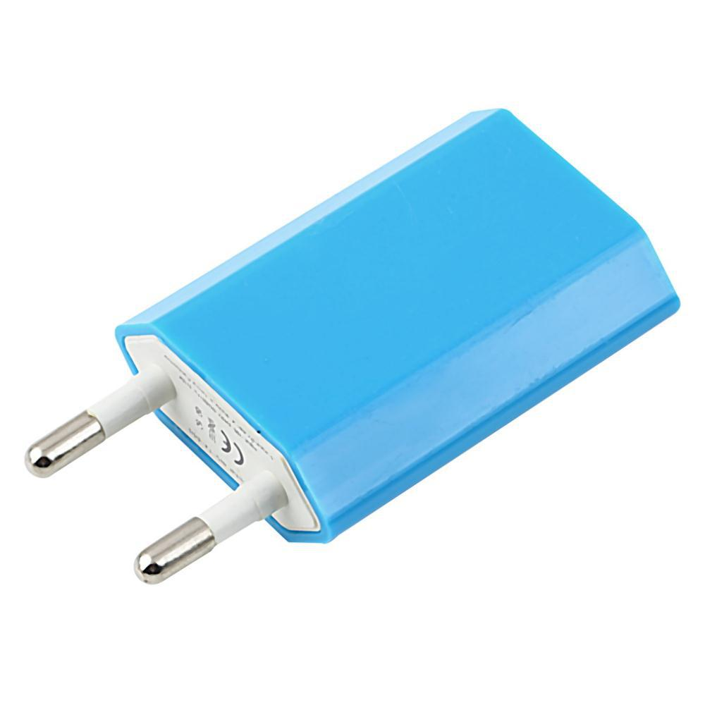 5V 1A EU Plug USB AC Power Wall Charger Adapter for all Apple iPhone 6 4 4S 5 5s iPod Touch Nano charging Blue