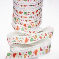 ePACKET  Free shipping 5/8 '' 50 yards / lot ,sweet elastic heart ,Fold Over Elastic heart elastic for girl headband