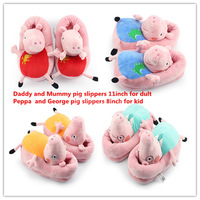 EMS 40 pairs New Peppa pig family Plush Slippers indoor Slipper