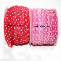 ePACKET  Free shipping 5/8 '' 250 yards / lot , lovely elastic heart ,Fold Over Elastic heart elastic for girl headband 10 color