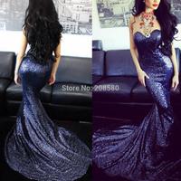 Glittering Sequin Evening Dress 2015 Sexy Mermaid Purple Prom Gowns Vestido De Formatura Plus Size E6379