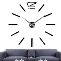 DIY Large Wall Clock 3D Sticker Big Watch Home Room Decor Unique Gift Black S7NF