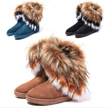 Warm and comfortable winter fur boots imitation fox wool rabbit hair boots Female in tube of cotton boots Warm cotton shoes(China (Mainland))
