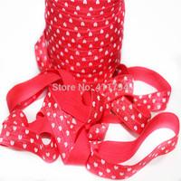 ePACKET  Free shipping 5/8 '' 50 yards / lot  ,Fold Over Elastic heart elastic for girl headband