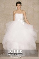 2015 Rhine Elegant Simple Ball Gown Wedding Dresses Strapless Tulle White Sweep Train Boknot Wedding Gowns Bridal Gowns
