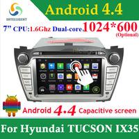 For Hyundai TUCSON Hyundai IX35 2 DIN CAR DVD GPS ANDROID 4.4 1024*600 WIFI 3G GPS Bluetooth Capacitive screen stereo Car radio
