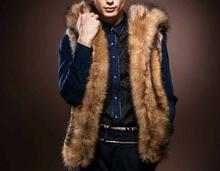 Winter Slim Fashion Casual Hooded Cardigan SizeS-XXXL Vest Fur Men Free Shipping MCV067(China (Mainland))