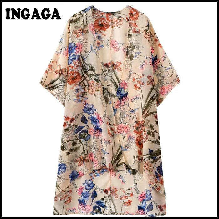 Ingaga Brand Kimonos 2015 Autumn New Street Fashion Woman Blusas Kiminos Half Sleeve Floral Printed Spring Cardigan Cape Top(China (Mainland))