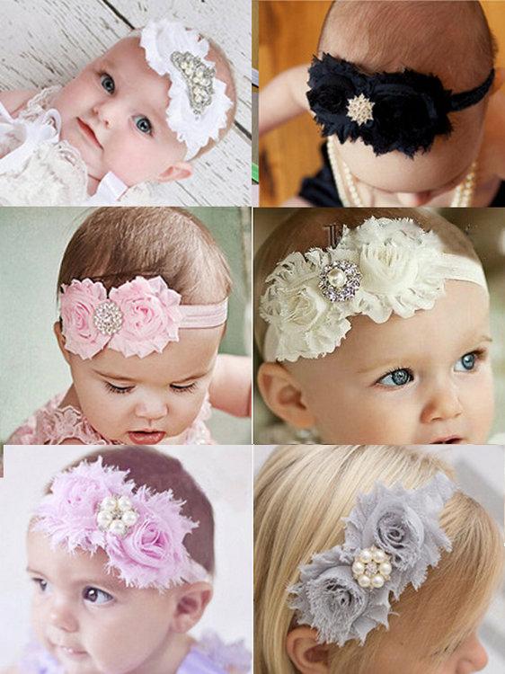 New 2015 hot sale baby girl's fabric flower headband 6 design rhinestone button with flower baby hair band kids accessories(China (Mainland))