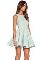 2015 Spring Summer New Arrival Women Fashion Sexy Party Mint green Backless Dress Party Clothing vestidos casual Free Shipping