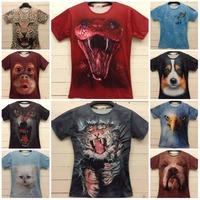 TOP FASHION New 2015 Women/Man Brand T Shirt Animal 3D Double Side Printed Snake/Cat/Monkey/Tiger T-Shirt Plus Size M-XXL Tops