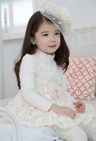 Girls' long-sleeved Cotton Dress Children Lace Rose White Dress With Blet Kids Wear Wholesale 5pcs/lot Free Shipping