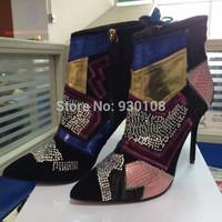 Elegant Point Toe Mixed Colors Brand Ankle Boots,Rhinestone Geometric Pattern High Heel Women Boots!