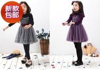 2015 Korean girls with long sleeved turtleneck autumn spring cashmere dress princess  gauze  657# thickening