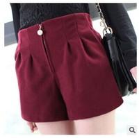 Winter  Women's  High Waist Shorts Fashion Pearls  Woolen Bootcut Short Pants Black Wine