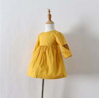 New Girls Solid Yellow Three Quarter Dresses Kids Spring Brand  Dress Fashion Clothing Wear 5 pcs/lot, Wholesale