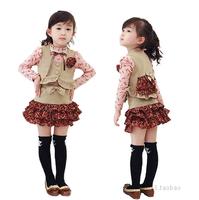 Retail 1 Pcs 2015 new child spring child basic floral t-shirt+ vest+ bow-knot miniskirt  baby three pieces set