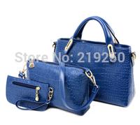 2014 for Crocodile women's soft leather handbag piece set picture package handbag cross-body bags large women's handbag
