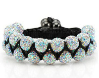 Stretch Elastic Shamballa Bracelets 10mm Red/Yellow/Black/Blue/Pink Crystal Ball Shambala Jewelry New Arrivel 23 Colors SM-11