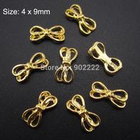 10pcs Gold metal nail studs nail bows 3d nail art decoration charms AM352