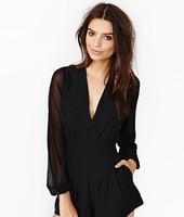 2015 S M L XL Women's Sexy Deep-V Neck Chiffon Long Sleeve Jumpsuits Lady Fashion Party Hot Jumpsuits  3130