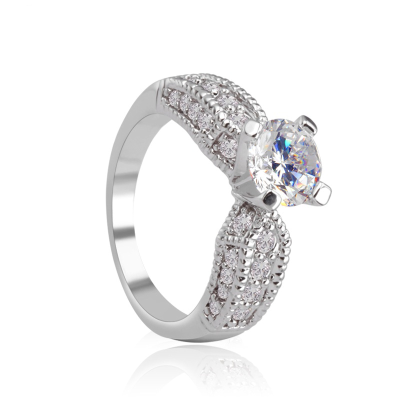 NICETER Romantic Forever Classic 4 Prong Round Sparkling Solitaire 1ct CZ Wedding Rings Fashion Ladies Accessories Famous Brand(China (Mainland))