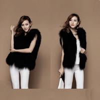 Spring New 100% Genuine Women Sheep Fur Vest Waistcoat Mongolia Sheep Fur Slim Gilet Free Shipping