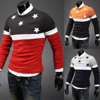 2015 new round collar design tide male sweatermens shawl collar cardigan sweater pentagram embroidery