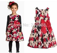 HOT!!! Brand children 1-7age girls lovely dot cartoon print pleated dress baby kids party dress children hot sale dress