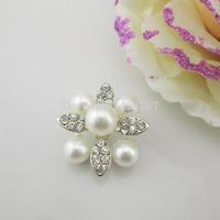 (OY417 25mm)100Pcs Sparkling Faux Ivory Pearl Rhinestone Crystal Button Shank For Wedding Invitation Card