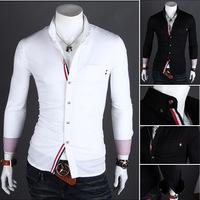 2015 New men's long sleeve shirt Ribbon decoration leisure shirt flannel shirt men