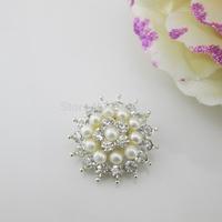 (OY430 22mm)100pcs Beautiful Ivory Pearl Rhinestone Button Shank For Wedding Dress Costume Craft