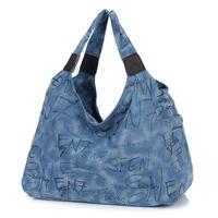 The new soft dumplings a woman zipper bag woman graffiti canvas shoulder bag large capacity bag free shipping letters