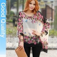 New arrival 2015 bohemia flower blouse shirt print stripe casual batwing chiffon blusa tops 3xl 4xl 5xl 6xl plus size XXXXL