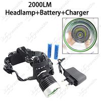 (Headlamp Set) High Power 2000Lm CREE Xm-L2 3-Mode LED Headlamp Headlight + 2pcs 18650 Battery + 1pc Wall Charger