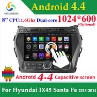 2 DIN ANDROID CAR DVD PLAYER 4.4 1024*600 For Hyundai IX45 Hyundai Santa Fe WIFI 3G GPS Bluetooth USB Touch screen Car radio