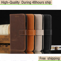 High Quality Luxury Crazy Horse Leather Wallet Flip Stand Case Cover For Samsung Galaxy Alpha G8508SFree Shipping